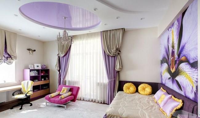 Нежная бело-сиреневая комбинация - отличный вариант в детскую комнату девочки