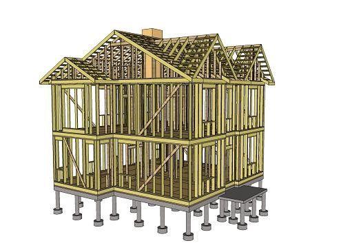 Рис. 1. Пример силового каркаса для двухэтажного каркасного дома.