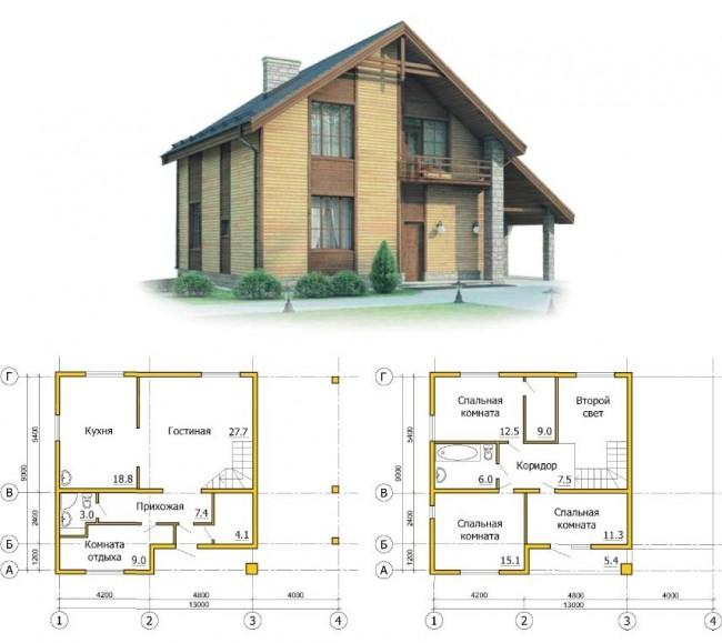 Рис. 15. Проект каркасного дома с мансардой и навесом для автомобиля.