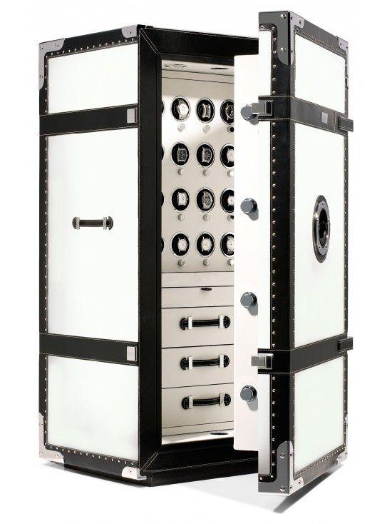 Черно-белый сейф, стилизованный под чемодан