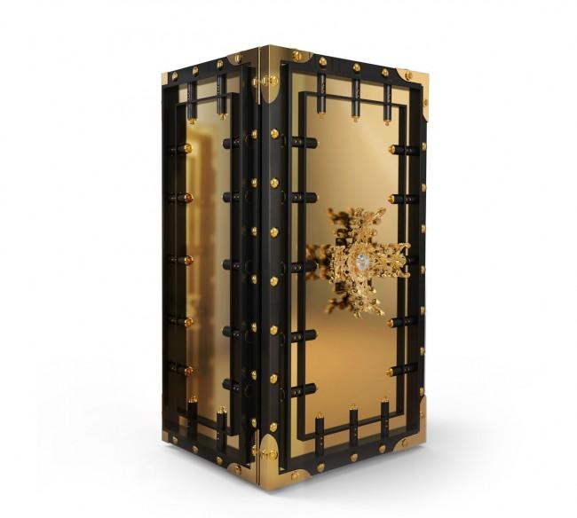 """Роскошный """"золотой"""" сейф с ручкой, инкрустированной камнями, выполненный в стиле стим-панк"""