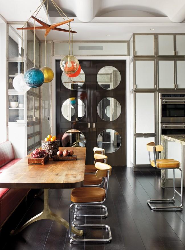 Стеклянные двери придают законченный вид всему дизайну помещению