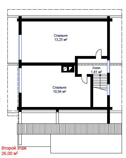 Деревянные дома из профилированного бруса. Рис. 5. План второго этажа
