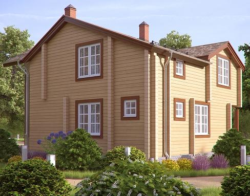Деревянные дома из профилированного бруса. Рис. 6. Вид на дом со двора