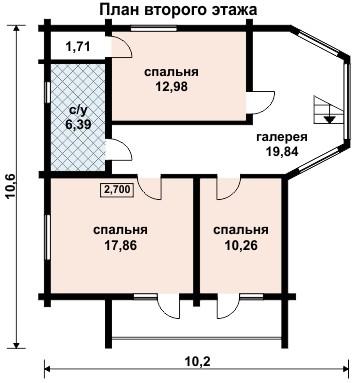 Деревянные дома из профилированного бруса. Рис. 9. План второго этажа