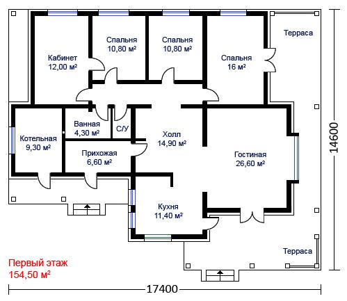 Деревянные дома из профилированного бруса. Рис. 13. План здания
