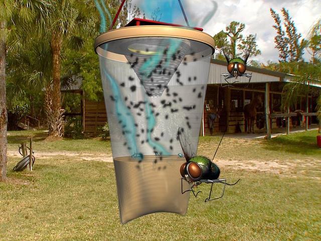 Как избавиться от мух в доме. Обычная форма ловушки для мух - емкость с воронкой, на дне которой жидкая приманка