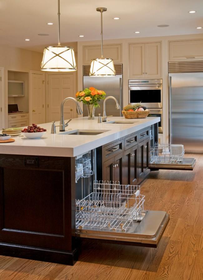 Рейтинг встроенных посудомоечных машин 45 см. Если того требует ваш образ жизни с частыми приемами гостей и позволяют размеры кухни, то вполне можно установить и две посудомоечных машины, так как машины для домашнего пользования имеют ограниченный выбор размеров и больше них бывают только машины для кафе и ресторанов