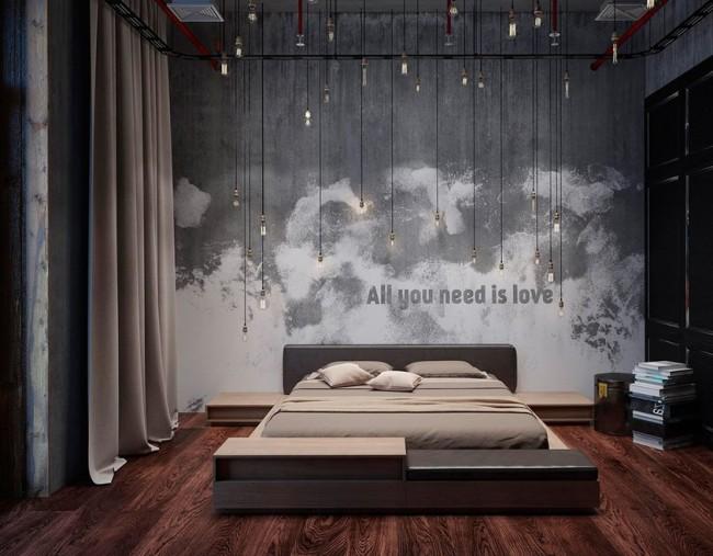 Один из вариантов оформления спальни в стиле лофт. Выдержанность и стиль