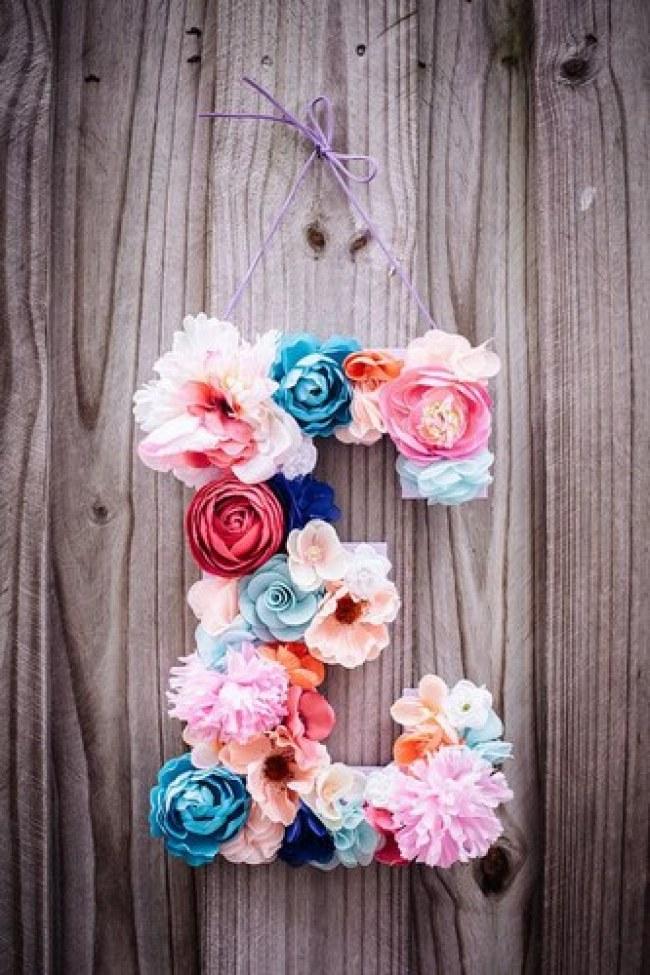 Как сделать букву с цветами из бумаги