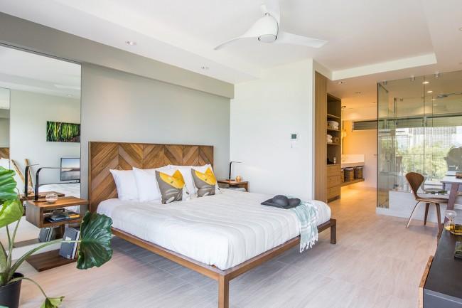 Прозрачность пространства и теплота растений предают комнате свежий вид.