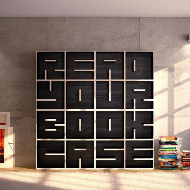 Изящный книжный шкаф из дерева с интересными полками