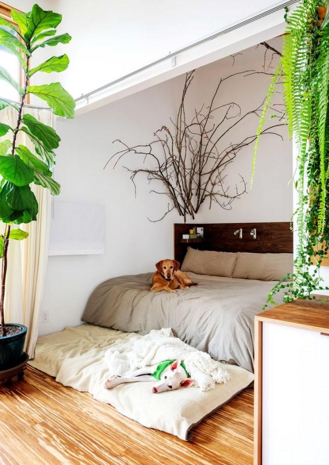 Оживленная природой спальня.