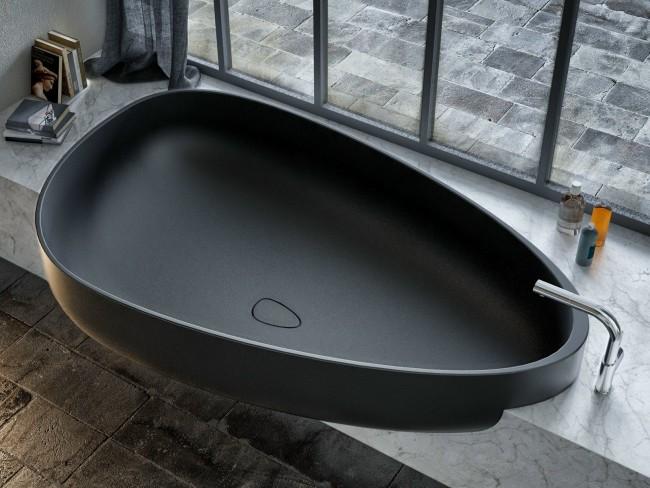 Шикарная встроенная черная акриловая ванна