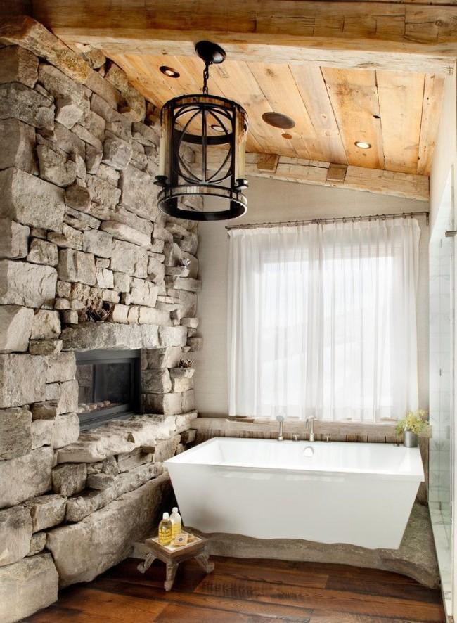 Квадратная акриловая ванна в интерьере стиля рустика