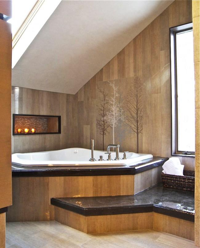 Угловая акриловая ванна с джакузи