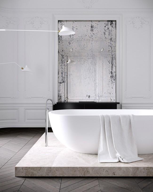 Овальная акриловая ванна на гранитной плите