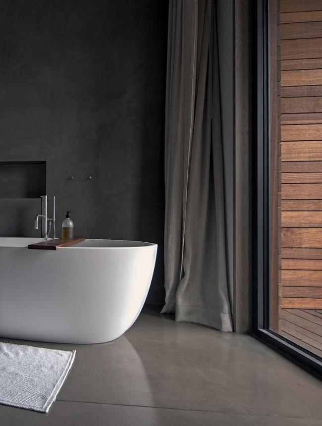 Прекрасное сочетание белой акриловой ванны и темного фона