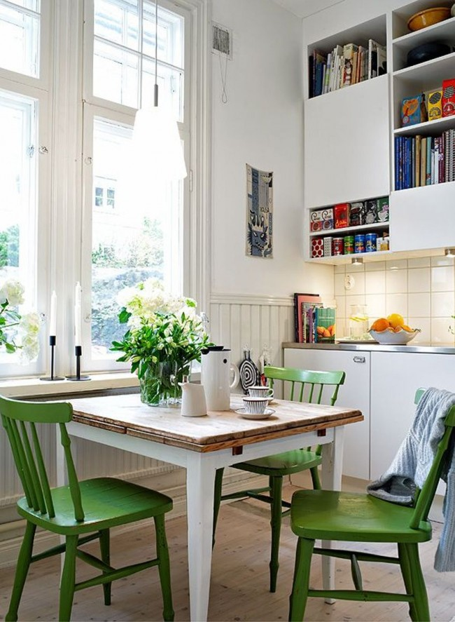 Бело-зеленый тандем цветов - очень позитивное и жизнерадостное сочетание