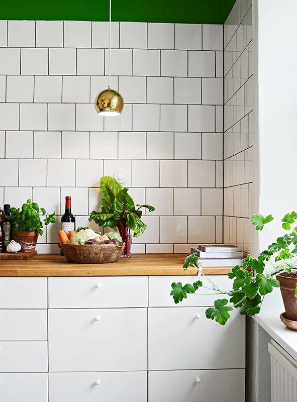 Бело-зеленая кухня выглядит очень жизнерадостно и природно