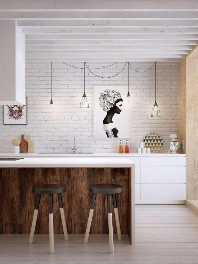 Стильная кухня лофт с деревянным акцентами