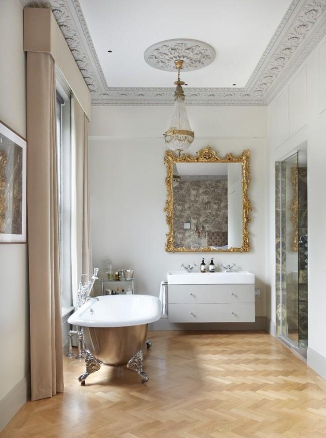 Чугунная ванна прекрасно подойдет для интерьера классического стиля