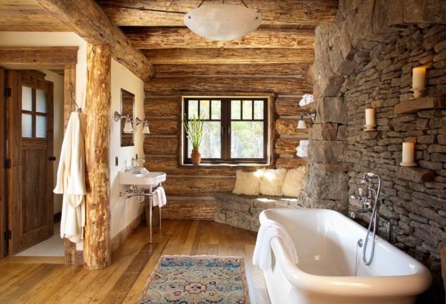 Прямоугольная ванна в интерьере стиля рустика