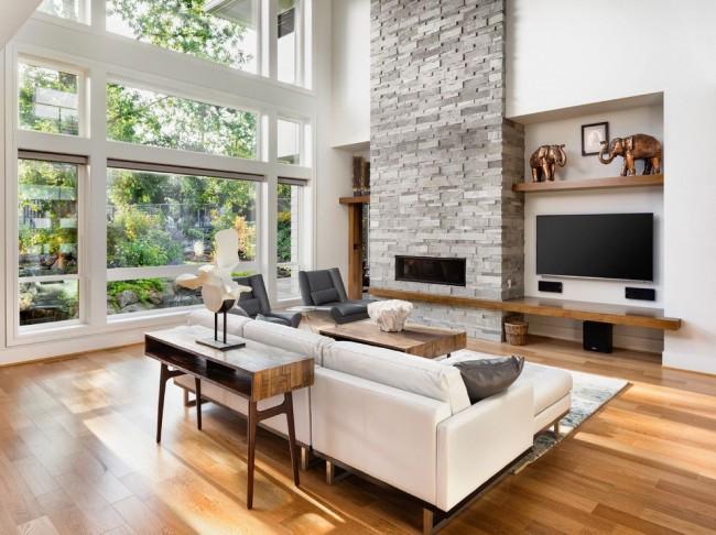 Интерьер просторной гостиной в стиле модерн