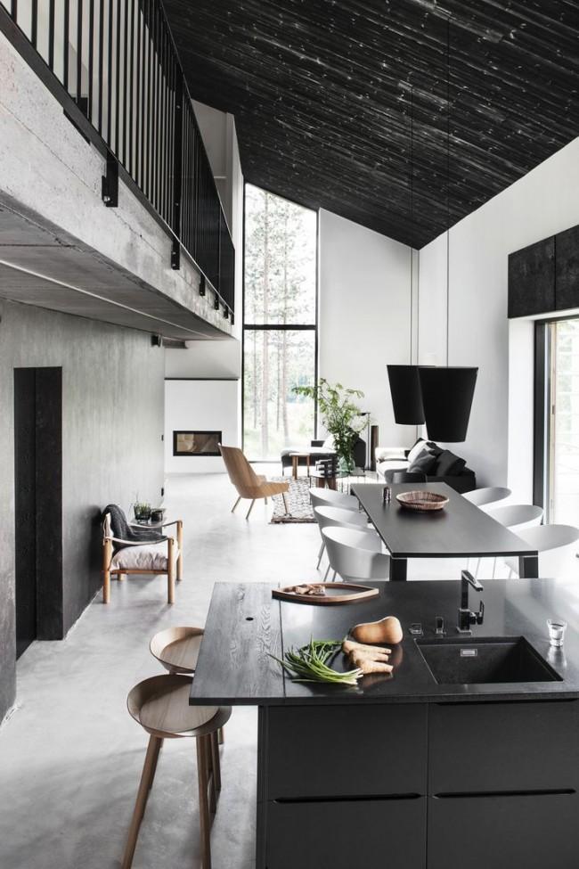 Объединенная гостиная с панорамными окнами