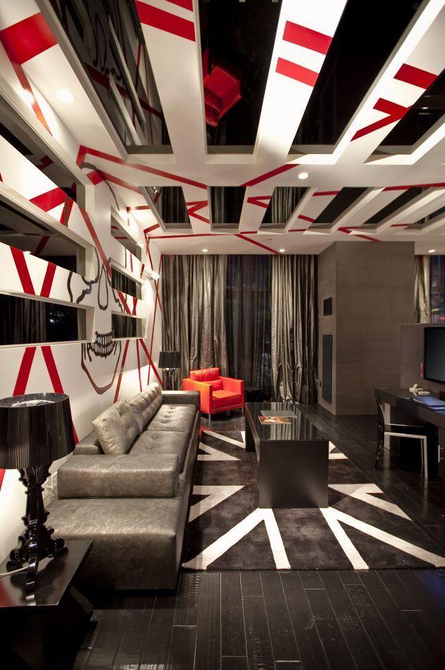 Контрастное сочетание красного, белого и черного в интерьере хай-тек