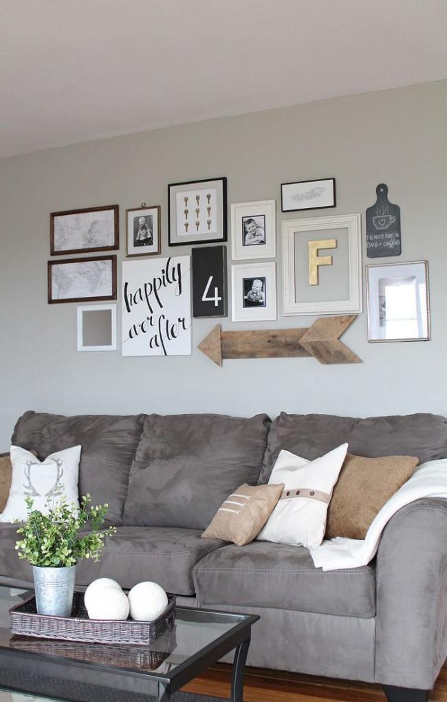 Выражение жизненной позиции в фразах на стене гостиной