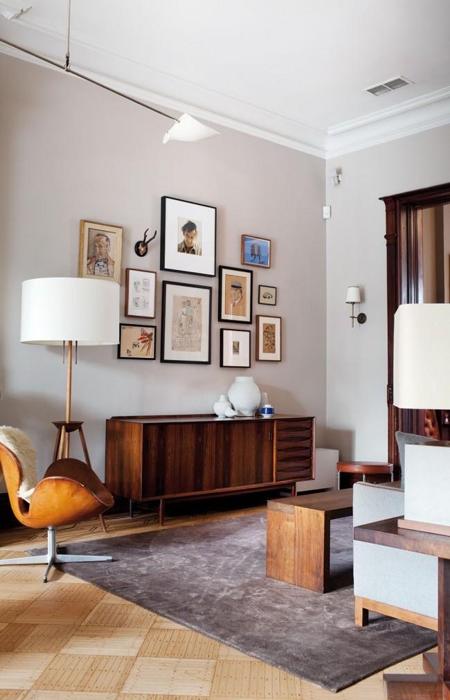 Натуральные материалы и цвета в интерьере гостиной