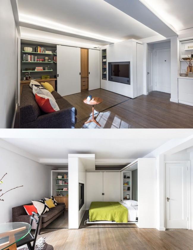 Раздвижные стены, скользящие от одного конца комнаты в другой, помогут разграничить дневные и ночные зоны