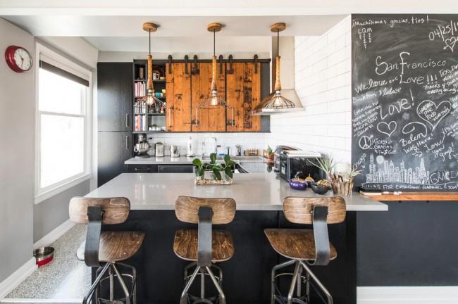 Кухня в стиле лофт смотрится очень стильно