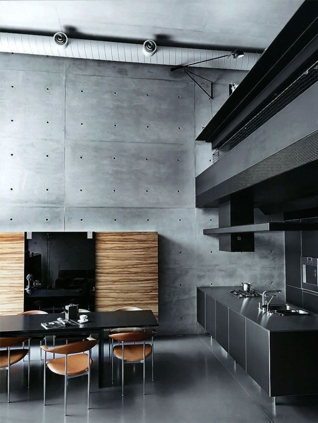 Лофт интерьер кухни с элементами хай-тека