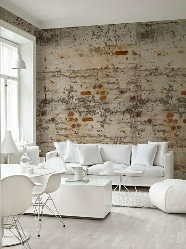 Стены в стиле лофт в белоснежном интерьере зала