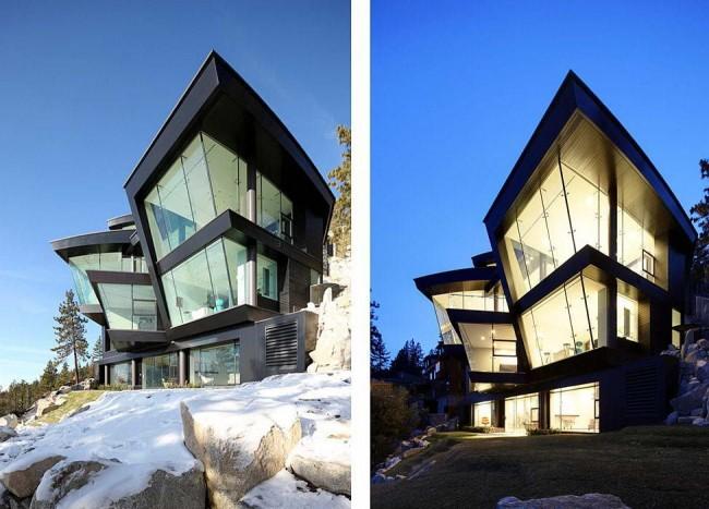 Шикарный дом необычной формы в стиле хай-тек