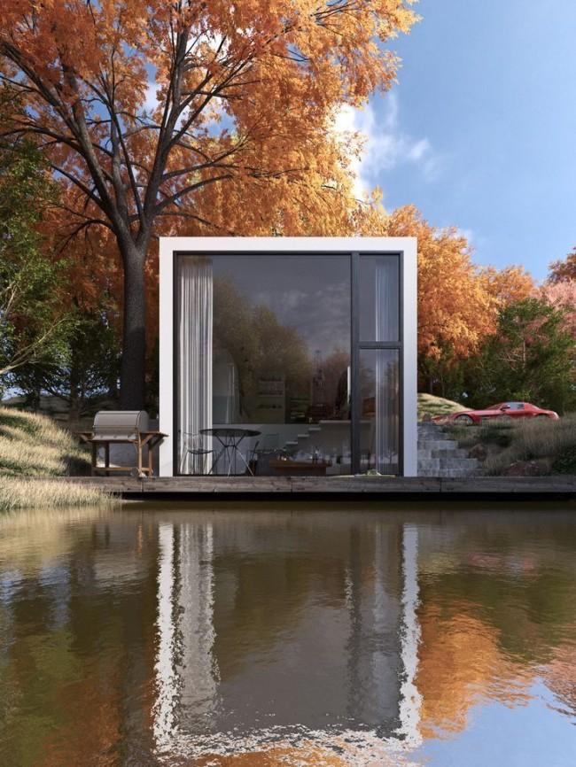 Гармоничное сочетание дома хай-тек и осеннего пейзажа