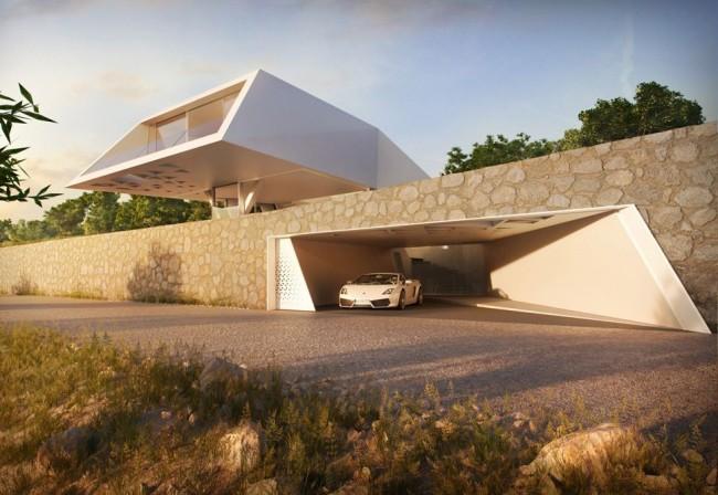 Замечательный дом необычной формы в стиле хай-тек