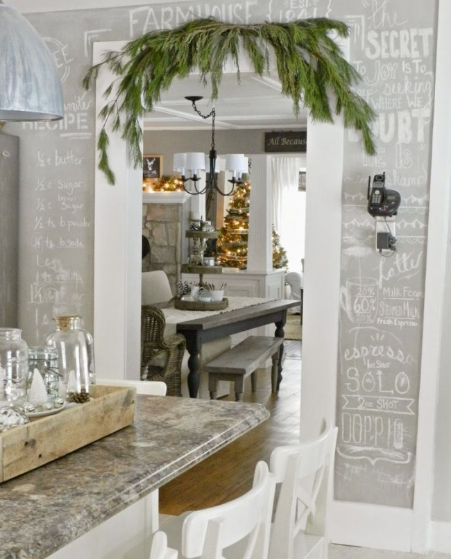 Серая грифельная стена на кухне