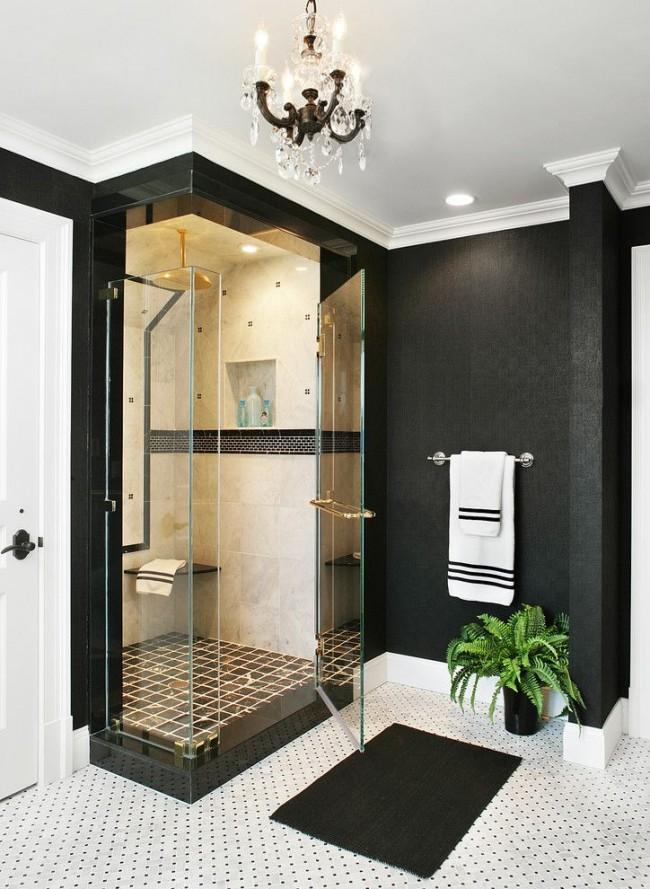 Ванная комната в классическом стиле с душевой кабиной