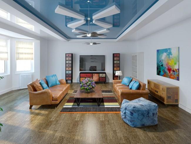Эффектная отделка потолка в гостиной - двухуровневый натяжной потолок