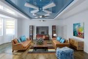 Фото 3 Двухуровневые натяжные потолки для зала (47 фото): материалы, форма, цвет