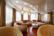Фото 19 Двухуровневые натяжные потолки для зала (47 фото): материалы, форма, цвет