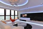 Фото 25 Двухуровневые натяжные потолки для зала (47 фото): материалы, форма, цвет