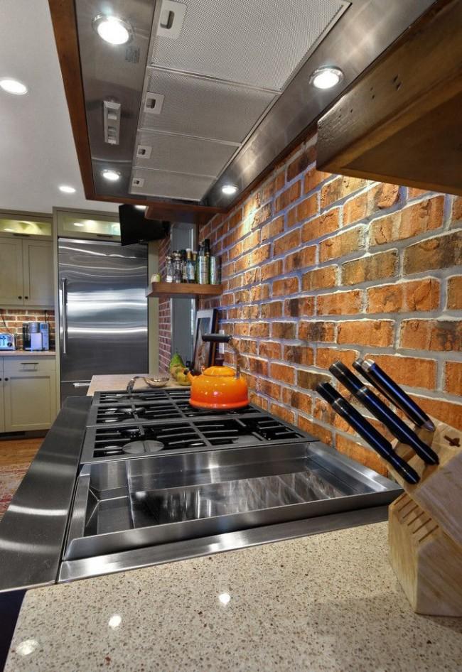 Фартук кухни из кирпича - красивое и практичное решение