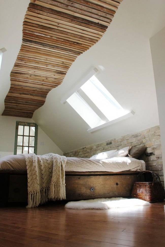 Спальня с клинкерной плиткой