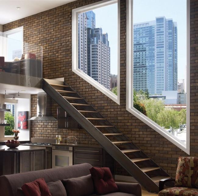 Клинкерная плитка в двухэтажной квартире
