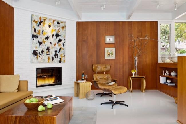 Клинкерная плитка в гостиной стиля модерн