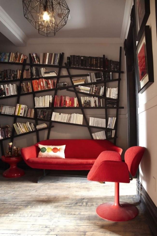 Выбирая дизайн для вашей библиотеки, можно использовать ряд дизайнерских приемов, которые позволят разместить книги красиво и рационально